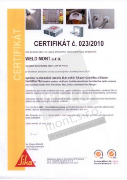 Certificate on the application of construction chemicals products SIKA