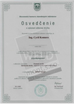 Certificate proving the passing of the professional exam - SITE MANAGER