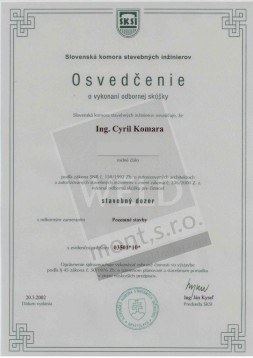 Certificate proving the passing of the professional exam - PROJECT SUPERVISOR